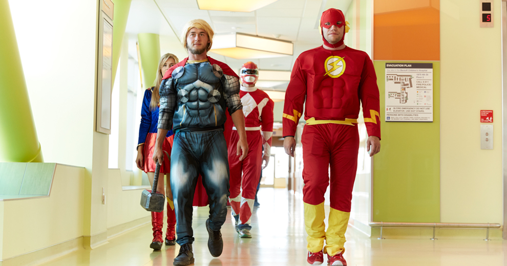 Superheroes arrive at the hospital